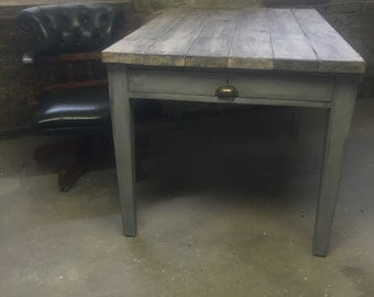 Stunning reclaimed wood top and oak legs desk with two drawers - reclaimed desk - chesterfield captains chair