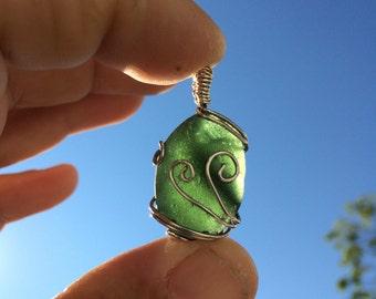 Dark green Maine sea glass pendant