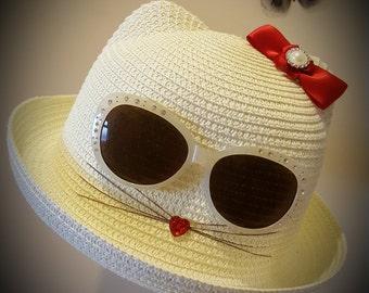 Childrens summer straw cat hat