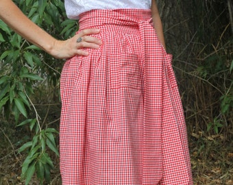 Red Gingham Retro 50s Style Half Tie Ribbon Apron with Two Front Pockets READY TO SHIP!