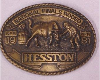 Vintage Mens National Finals Rodeo NFR Hesston 1981 Belt Buckle