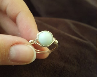 Amazonite and Silver Wire Wrapped Ring