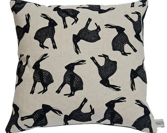 Hand Printed Charcoal  Leaping Hare Cushion