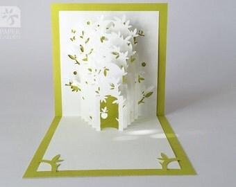 """Papercut Template Pop-up Card """"Eden"""", Instant Download, Cut&Glue Own 3d Pop-up Card 90 deg"""