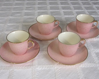 Royal Winton Grimwades - 4  Pink Demitasse Espresso Coffee Cup and Saucer Sets - Art Deco Style
