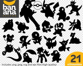 SALE Pokemon Silhouette png jpg svg eps files high resolution BV-FA-0087