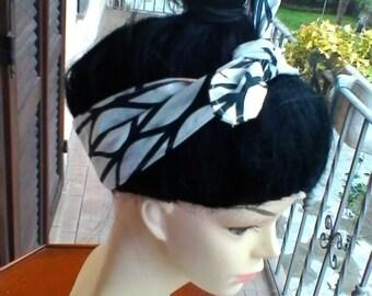 White and black head band