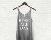 Rose All Day Adult  Womens Slouchy Tank Top Rose' All Day Tank Top Black Grey