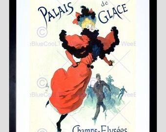 Advert Palais Glace Champs Elysees Ice Skating Paris Vintage Poster Art FE837PY