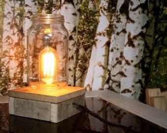 Jar table lamp, upcycled ,not mason jar ,Edison bulb ,reclaimed pallet wood