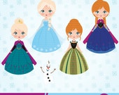 Frozen Digital Clipart, Frozen Clipart, Princess Clipart, princess clip art