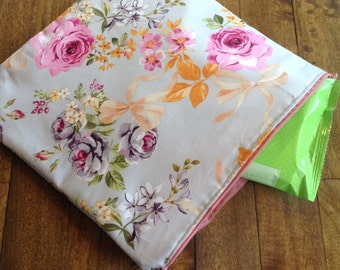 Diaper bag pouch, small tote with zipper, makeup bag, luggage insert, lavender and Floral pouch