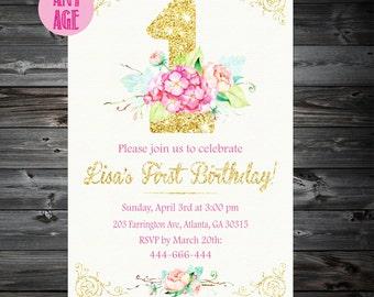 1st Birthday Invitation,Floral 1st Birthday Invitation,1st Birthday Invitation Girls,1st 2nd 3rd 4th 5th 6th 7th kids birthday