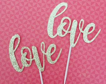 12 Glitter LOVE Cupcake Toppers, Bridal Cake Topper, Wedding Cupcake Topper, Engagement Party, Valentine's Day, Anniversary, Gold Topper
