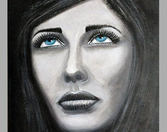Painting - woman with blue eyes - 24x30cm