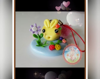 Handmade Clay Bunny In The Spring