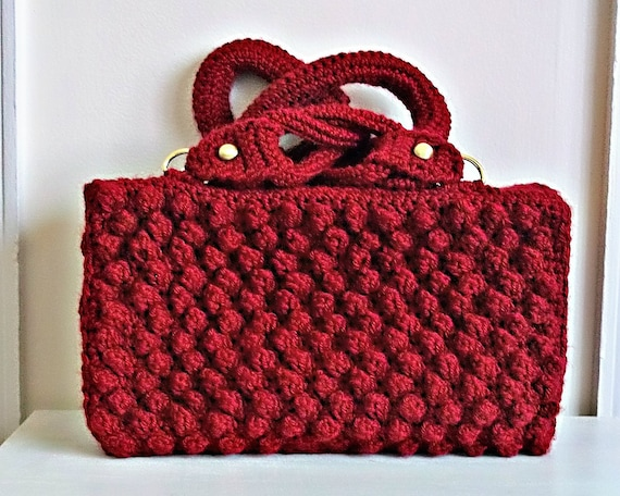 Handmade Crochet Red Hand Bag, Red Crochet Handbag, Red Crochet Purse ...