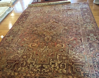 Persian rug antique 8.1x 11.0  hand knotted wool washed clean