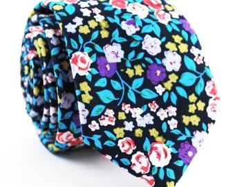 Black Multi Color Floral Necktie, Floral Tie, Mens Tie, Mens Skinny Tie, Floral Skinny Tie, Mens Floral tie
