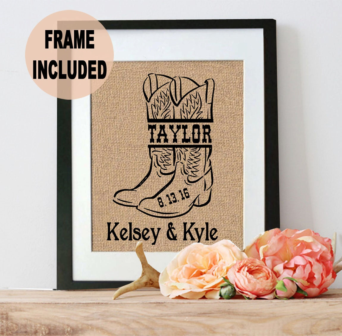 Country Wedding Gift Ideas: Country Wedding Decor Personalized Burlap Sign Country