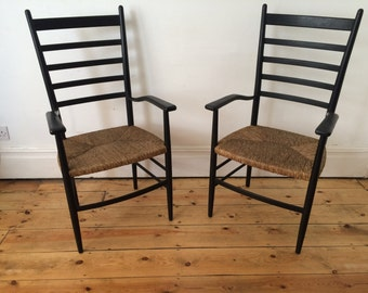 2 Tall Unusual Ladder Back Armchair Carver Chairs Rush Seats Italian Rooksmoor