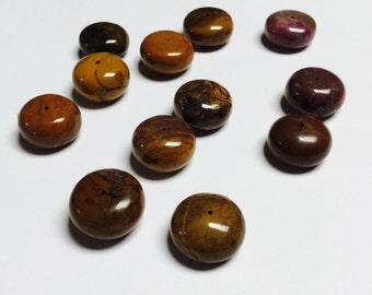 Large Mookaite Jasper Rondelles - 12 Pieces - #436