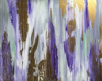 Abstract Metallic Gold and Purple Acrylic Painting