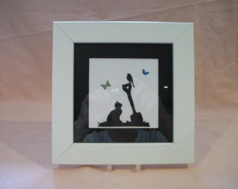 A Handmade Silhouette Picture Of A Cat & Butterflies In A 6x6 Frame