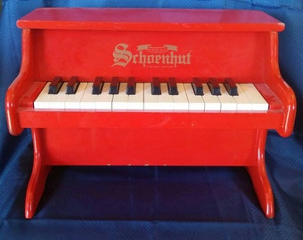 Schoenhut 25 key toy red wood piano, free shipping