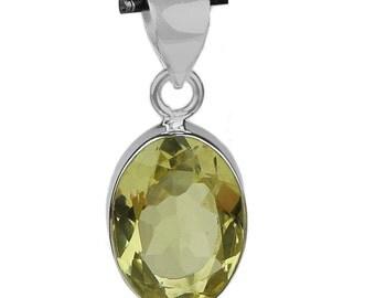 A beautiful lemon topaz pendant in  925 sterling silver for women.