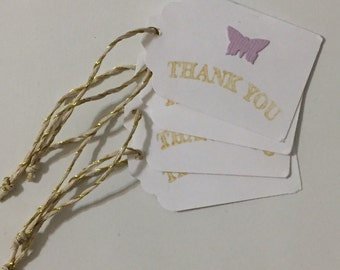 Hand stamped thank you tags