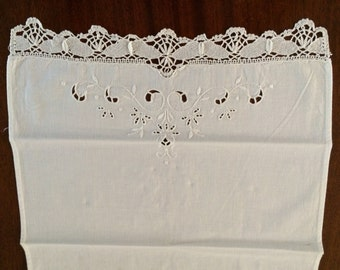 Guest Hand Towel - Embroidery Anglaise with a Very Fine Hand Crochet Edge