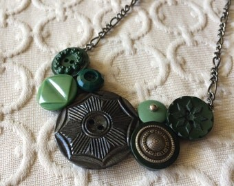 Green Medalion Button Assemblage Necklace