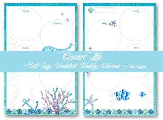 Undated Half Size Weekly Planner - Ocean Life - Printable Planner