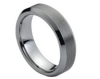 FLASH SALE ** Tungsten Carbide Wedding Band Brushed Center shiny Beveled Edge Ring 6mm