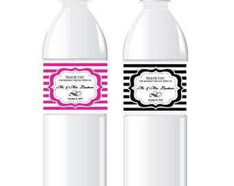 20 Pcs. Personalized Dots and Stripes Water Bottle Labels ( FJM595735-W)