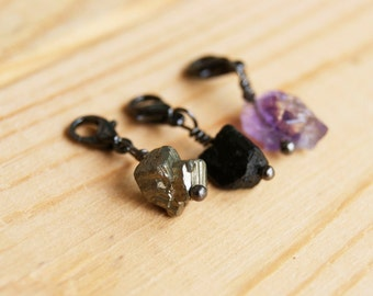 Three Rough Crystal Multipurpose Charms - Amethyst, Black Tourmaline, and Pyrite