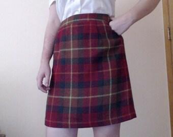 Vintage Hillard & Hanson Plaid Wool Skirt