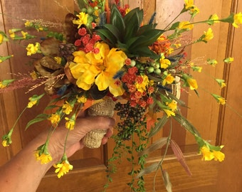1 Set - Rustic Autumn Wildflower Bridal or Bridesmaid Bouquet with Succulents, Burlap, Pearls  - PLUS,  1 Matching Boutonniere - READY MADE