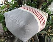 Gray Linen Ottoman, Pouf, Flat Woven Stripe
