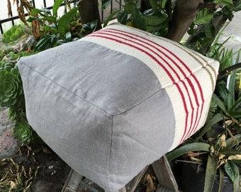 Gray Linen Ottoman, Pouf, Flat Woven Stripe Cover
