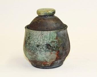 Small Blue Raku Jar