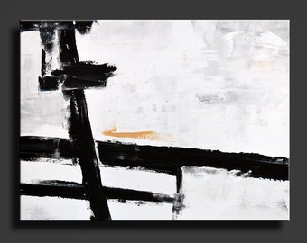 Large ABSTRACT PAINTING Black White Gray Gold Painting Original Canvas Art Contemporary Modern Art 48x36 wall decor - Unstretched - 24W