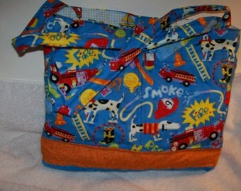 Firetruck and dog purse with blue background.  p125ft