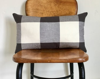 12x20 Lumbar Black and White Buffalo Check Plaid Zipper Pillow Cover