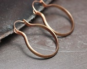Copper Hoops Antiqued Hammered Copper Boho Rustic Hoop Earrings