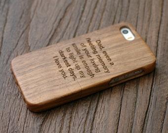 Personalized Wood Iphone SE Case, Iphone 5 Wood  Case, Custom Engrave iPhone SE Case - Walnut LWIP5