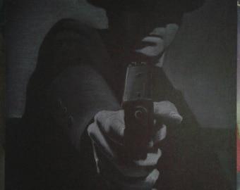 Gangster. White charcoal drawing on black paper. Framed. 30×40 cm