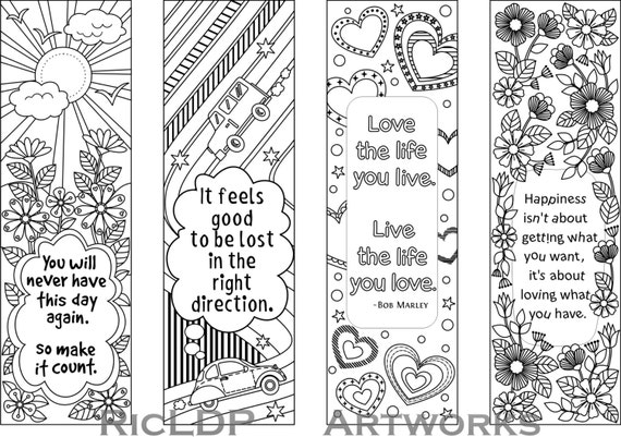 free bookmark coloring pages | Printable Colouring Bookmarks with Quotes by RicLDPArtworks