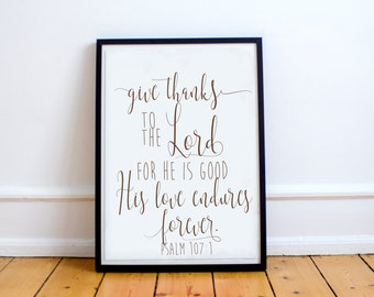 Give Thanks Bible Scripture Thanksgiving Fall Autumn Printable Inspirational Quote Digital Print Instant Download